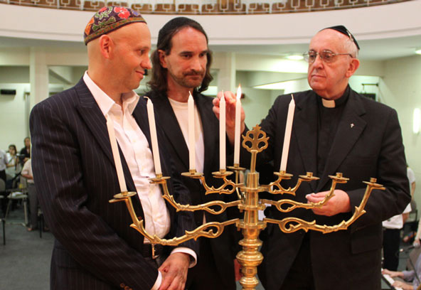 Anti-Pope Francis I Bergoglio Celebrating Hanukkah, December 2012